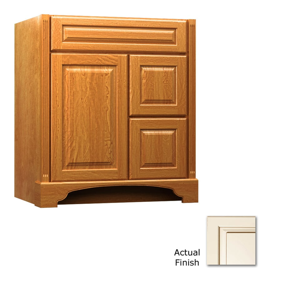 KraftMaid Savoy Montclair Canvas with Cocoa Glaze Traditional Bathroom Vanity (Common: 30-in x 21-in; Actual: 30-in x 21-in)
