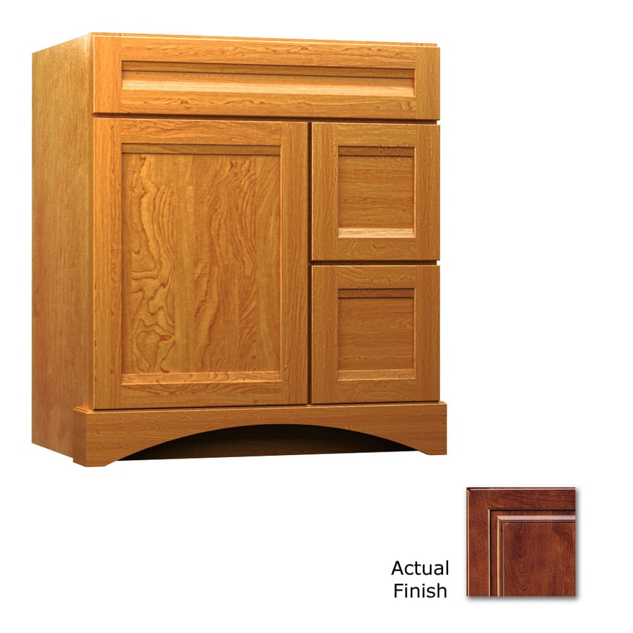 KraftMaid Summerfield Sonata Antique Chocolate with Mocha Glaze Casual Bathroom Vanity (Common: 30-in x 21-in; Actual: 30-in x 21-in)