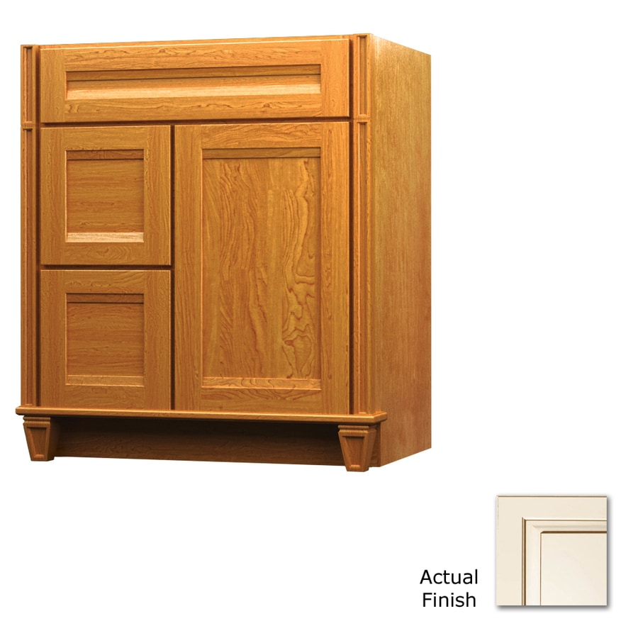 KraftMaid Key Biscayne Sonata Canvas with Cocoa Glaze Traditional Bathroom Vanity (Common: 36-in x 18-in; Actual: 36-in x 18-in)