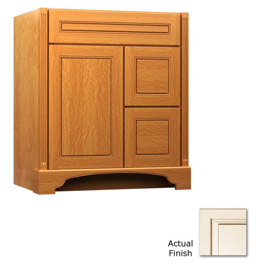 KraftMaid Savoy Provence Canvas with Cocoa Glaze Traditional Bathroom Vanity (Common: 36-in x 21-in; Actual: 36-in x 21-in)