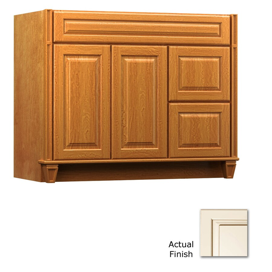 KraftMaid Key Biscayne Montclair Canvas with Cocoa Glaze Traditional Bathroom Vanity (Common: 42-in x 18-in; Actual: 42-in x 18-in)