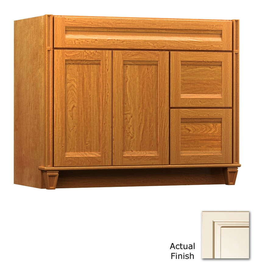 KraftMaid Key Biscayne Sonata Canvas with Cocoa Glaze Traditional Bathroom Vanity (Common: 42-in x 18-in; Actual: 42-in x 18-in)