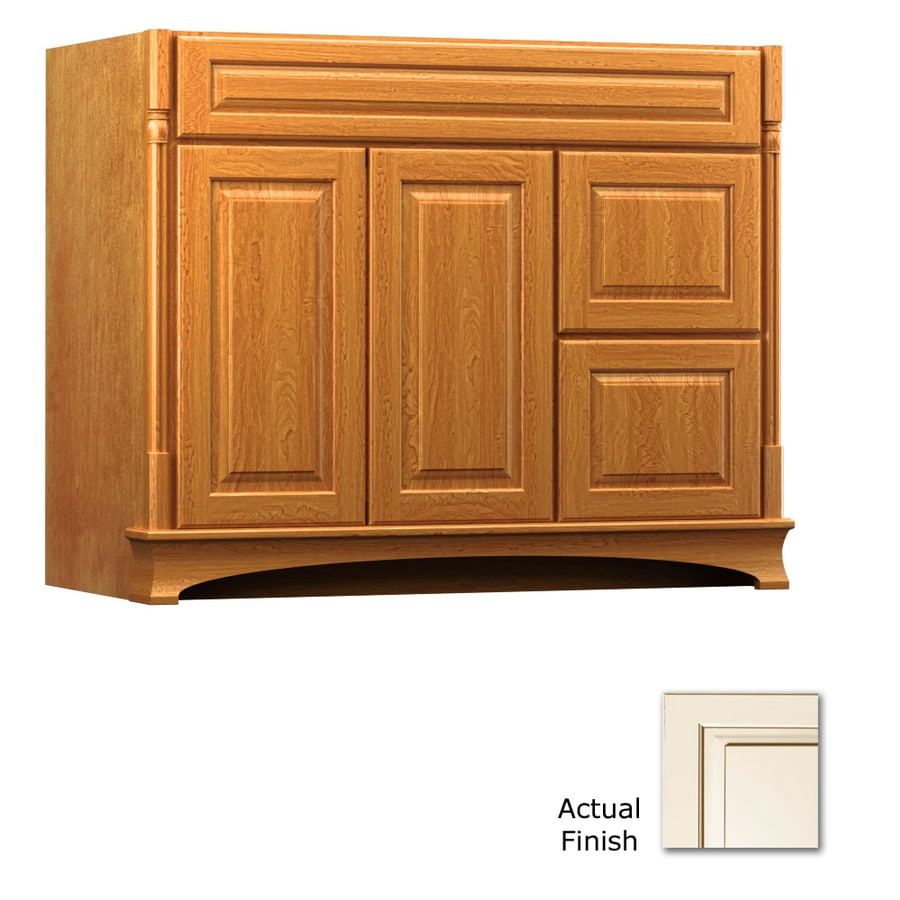 KraftMaid Chambord Montclair Canvas with Cocoa Glaze Traditional Bathroom Vanity (Common: 42-in x 18-in; Actual: 42-in x 18-in)