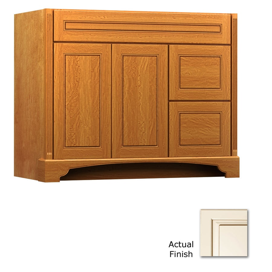 KraftMaid Savoy Provence Canvas with Cocoa Glaze Traditional Bathroom Vanity (Common: 42-in x 21-in; Actual: 42-in x 21-in)