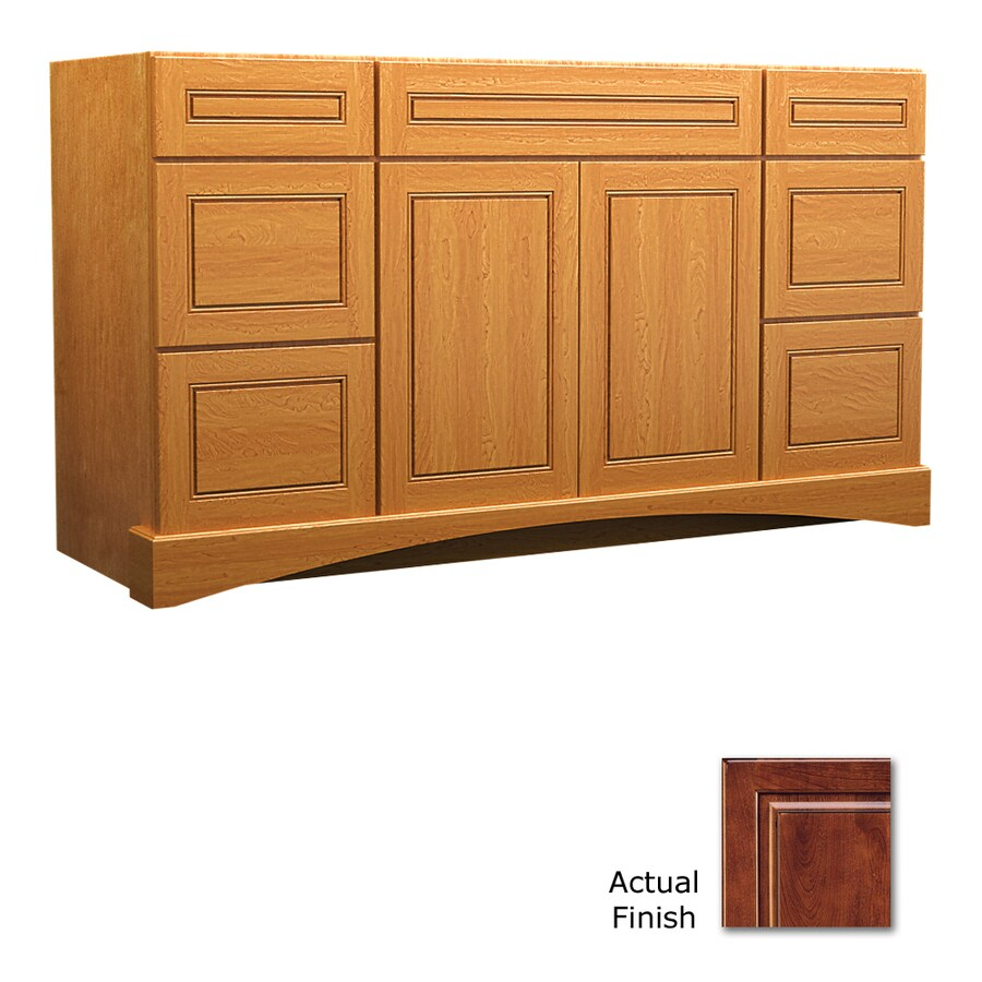 KraftMaid Summerfield Provence Antique Chocolate with Mocha Glaze Casual Bathroom Vanity (Common: 48-in x 21-in; Actual: 48-in x 21-in)