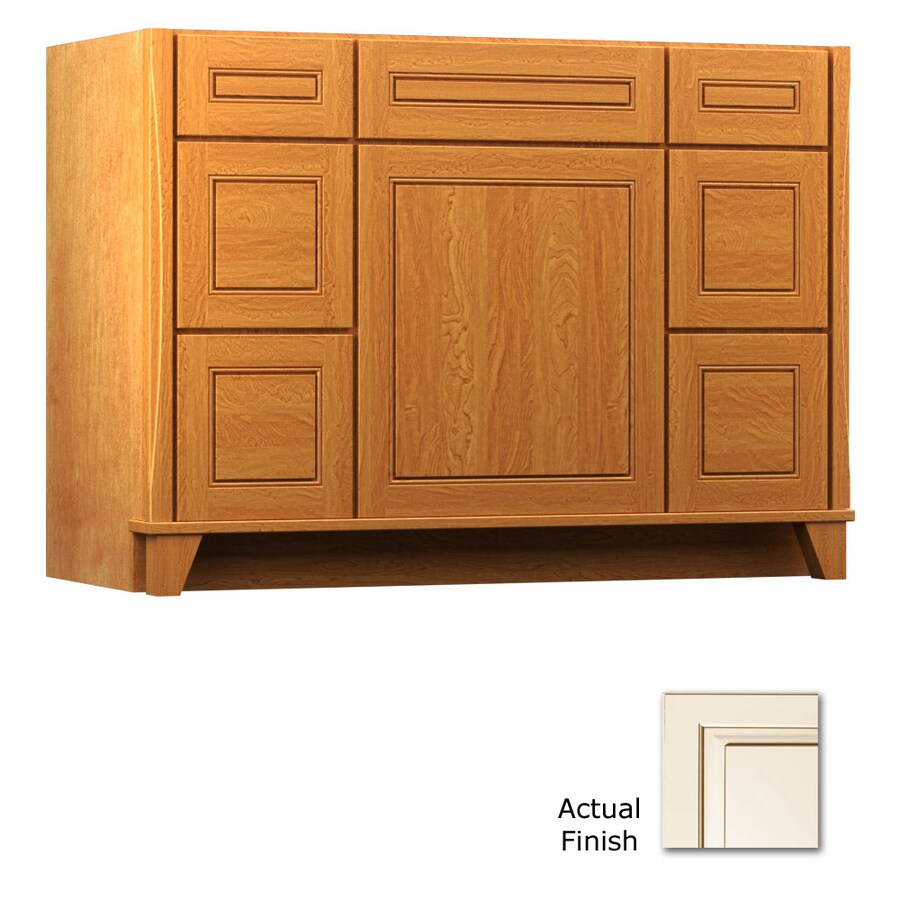 KraftMaid Tribecca Provence Canvas with Cocoa Glaze Contemporary Bathroom Vanity (Common: 48-in x 21-in; Actual: 48-in x 21-in)
