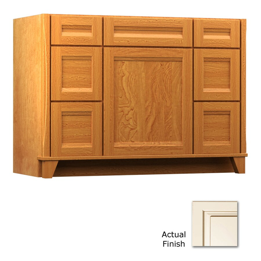 KraftMaid Tribecca Sonata Canvas with Cocoa Glaze Contemporary Bathroom Vanity (Common: 48-in x 21-in; Actual: 48-in x 21-in)