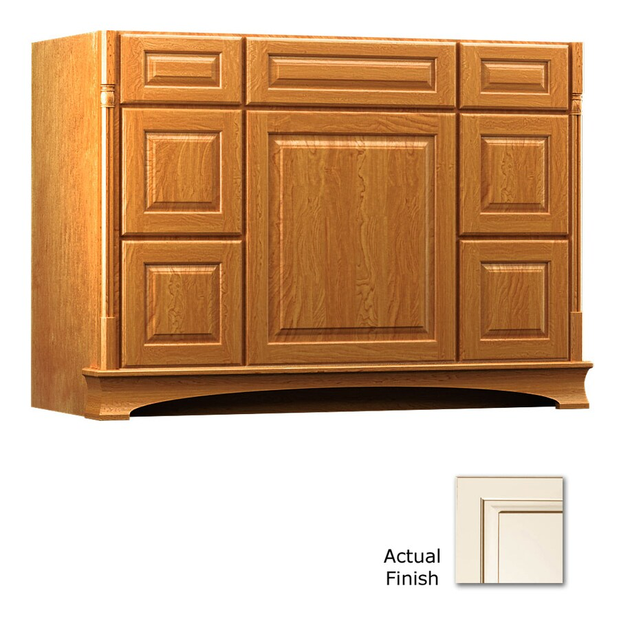 KraftMaid Chambord Montclair Canvas with Cocoa Glaze Traditional Bathroom Vanity (Common: 48-in x 21-in; Actual: 48-in x 21-in)