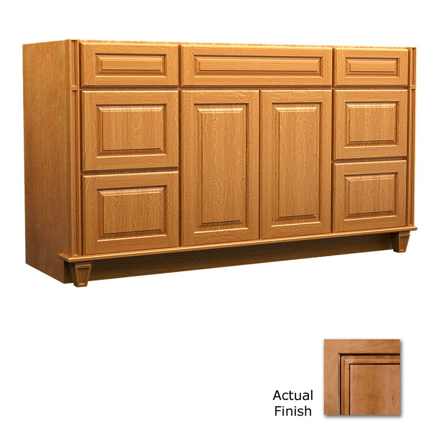 KraftMaid Key Biscayne Montclair Ginger with Sable Glaze Traditional Bathroom Vanity (Common: 60-in x 18-in; Actual: 60-in x 18-in)