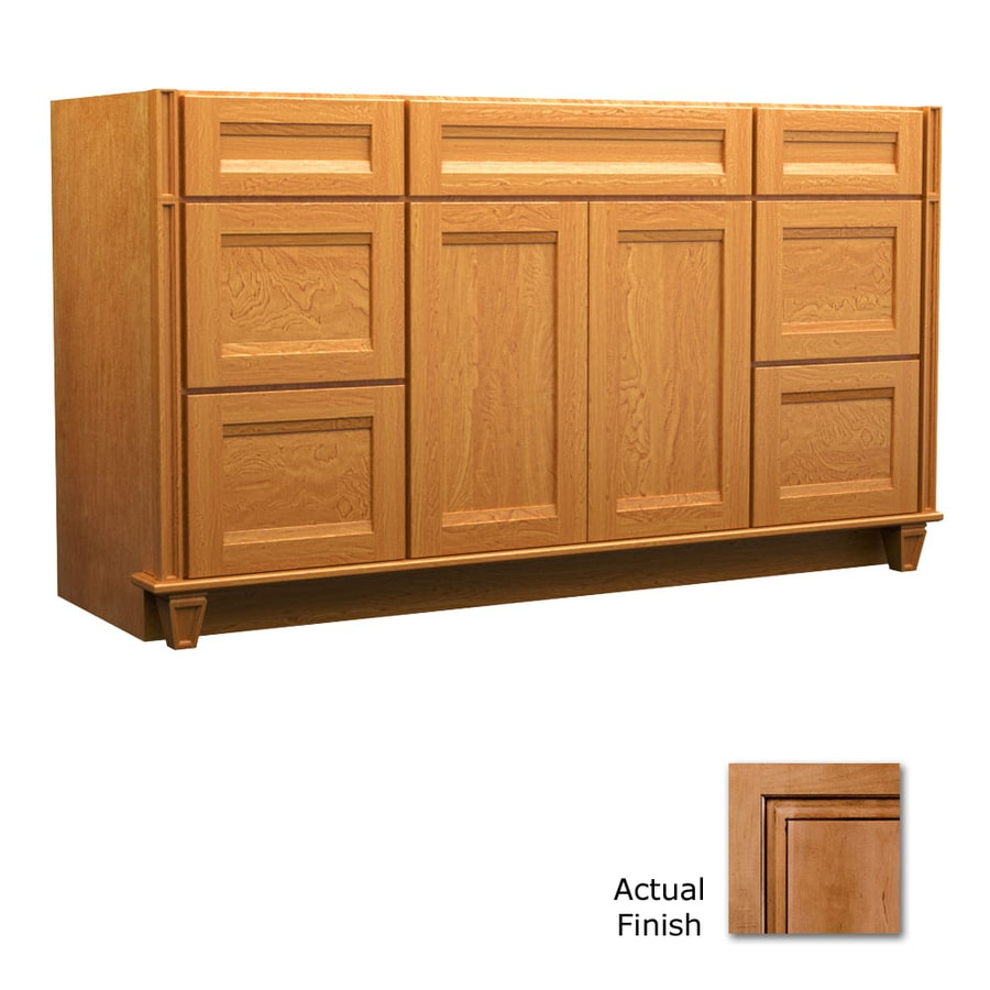 KraftMaid Key Biscayne Sonata Ginger with Sable Glaze Traditional Bathroom Vanity (Common: 60-in x 18-in; Actual: 60-in x 18-in)