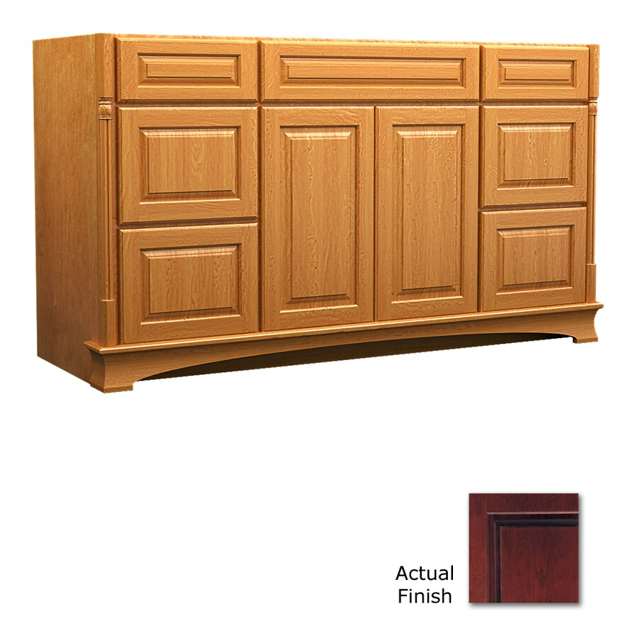 KraftMaid Chambord Montclair Cabernet Traditional Bathroom Vanity (Common: 60-in x 18-in; Actual: 60-in x 18-in)