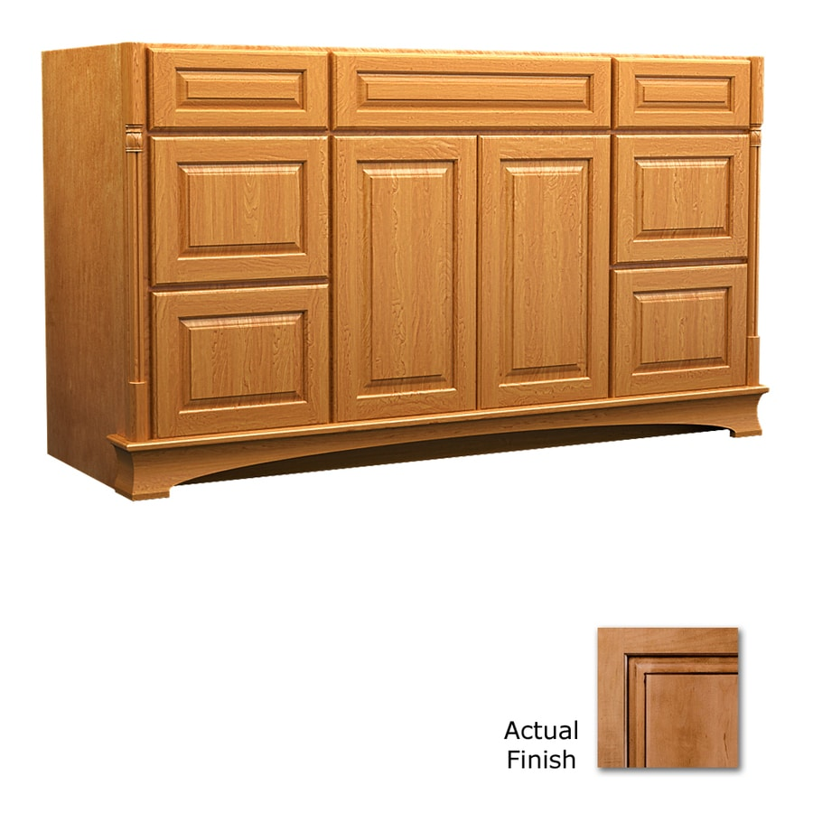 KraftMaid Chambord Montclair Ginger with Sable Glaze Traditional Bathroom Vanity (Common: 60-in x 18-in; Actual: 60-in x 18-in)