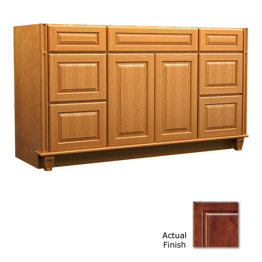 KraftMaid Key Biscayne Montclair Antique Chocolate with Mocha Glaze Traditional Bathroom Vanity (Common: 60-in x 21-in; Actual: 60-in x 21-in)