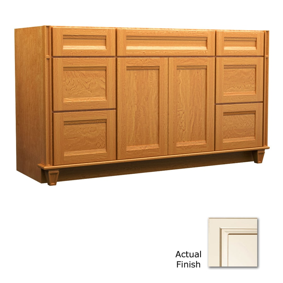 KraftMaid Key Biscayne Sonata Canvas with Cocoa Glaze Traditional Bathroom Vanity (Common: 60-in x 21-in; Actual: 60-in x 21-in)