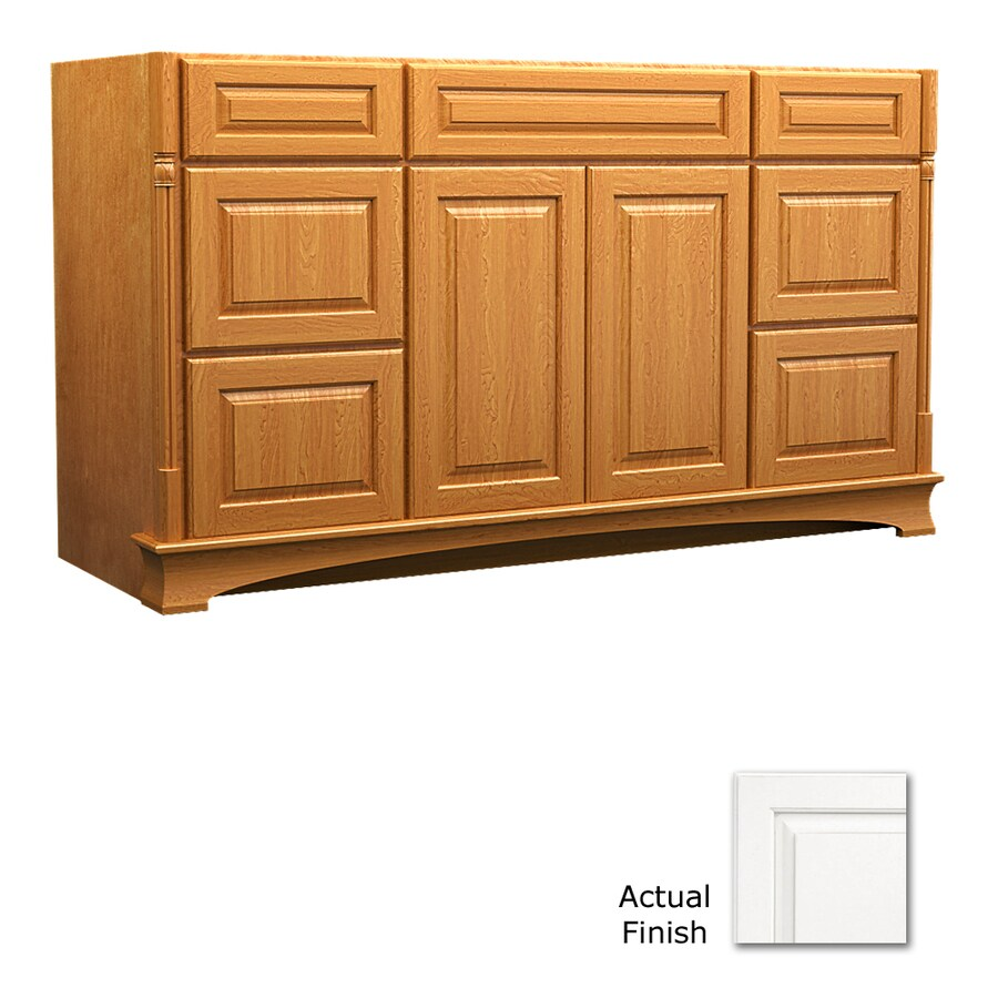 KraftMaid Chambord Montclair Dove White Traditional Bathroom Vanity (Common: 60-in x 21-in; Actual: 60-in x 21-in)