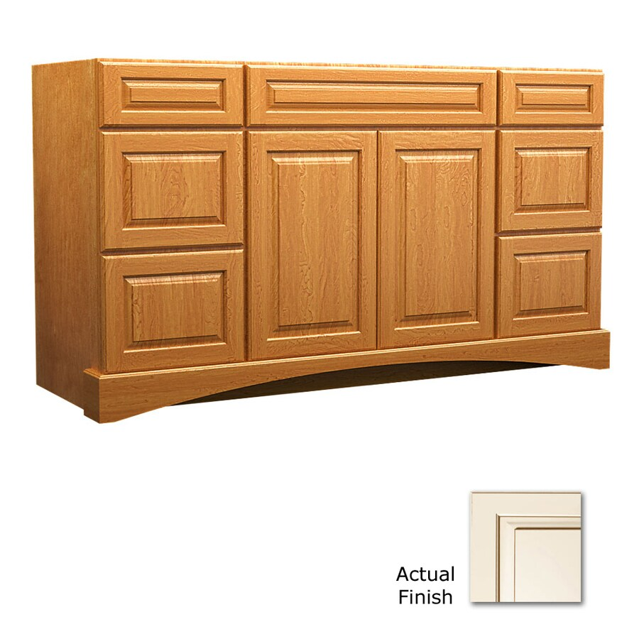 KraftMaid Summerfield Montclair Canvas with Cocoa Glaze Casual Bathroom Vanity (Common: 60-in x 21-in; Actual: 60-in x 21-in)