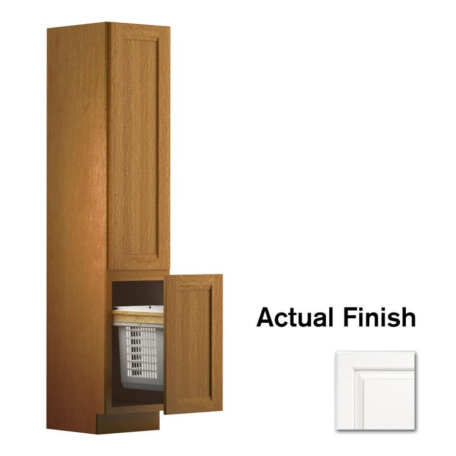 KraftMaid 18-in W x 88.5-in H x 21-in D Dove White Maple Freestanding Linen Cabinet