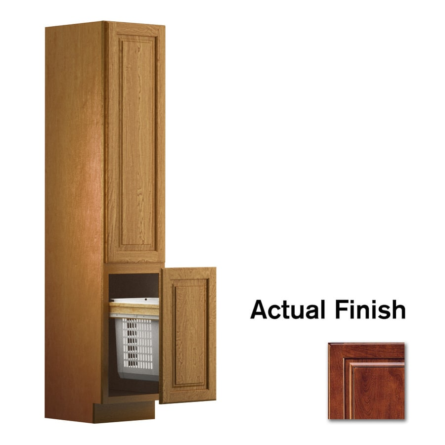 KraftMaid 18-in W x 88.5-in H x 21-in D Antique Chocolate with Mocha Glaze Cherry Freestanding Linen Cabinet