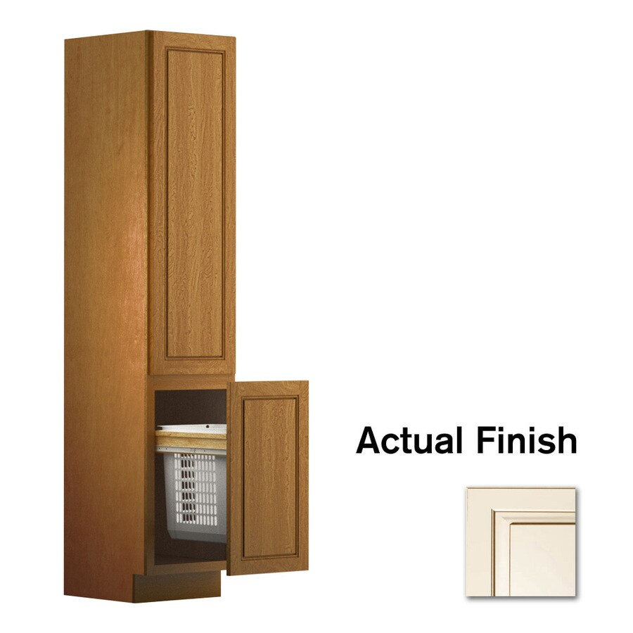 KraftMaid 18-in W x 88.5-in H x 21-in D Canvas with Cocoa Glaze Maple Freestanding Linen Cabinet