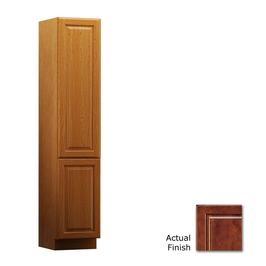 KraftMaid 15-in W x 88.5-in H x 18-in D Antique Chocolate with Mocha Glaze Cherry Freestanding Linen Cabinet