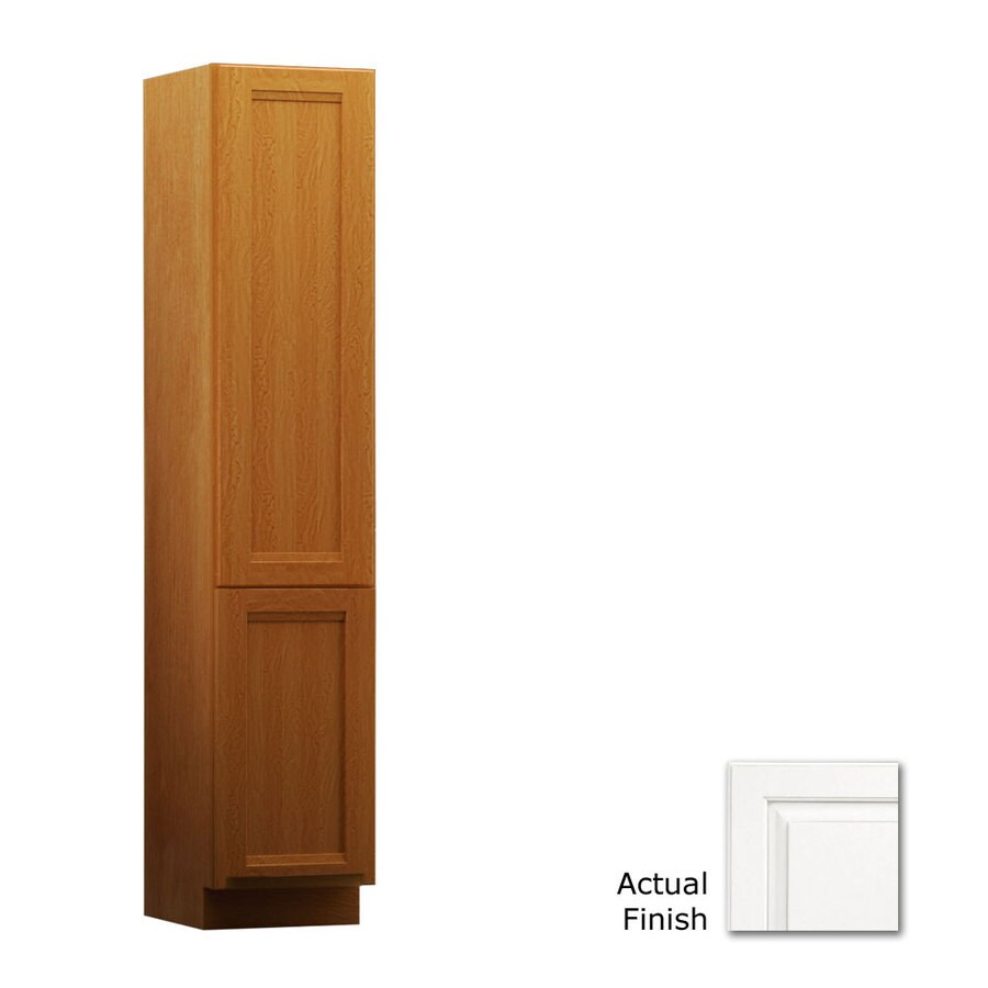 KraftMaid 15-in W x 88.5-in H x 18-in D Dove White Maple Freestanding Linen Cabinet