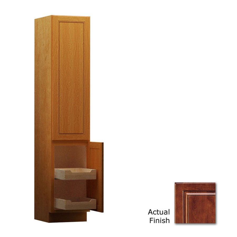 KraftMaid 15-in W x 88.5-in H x 21-in D Antique Chocolate with Mocha Glaze Cherry Freestanding Linen Cabinet