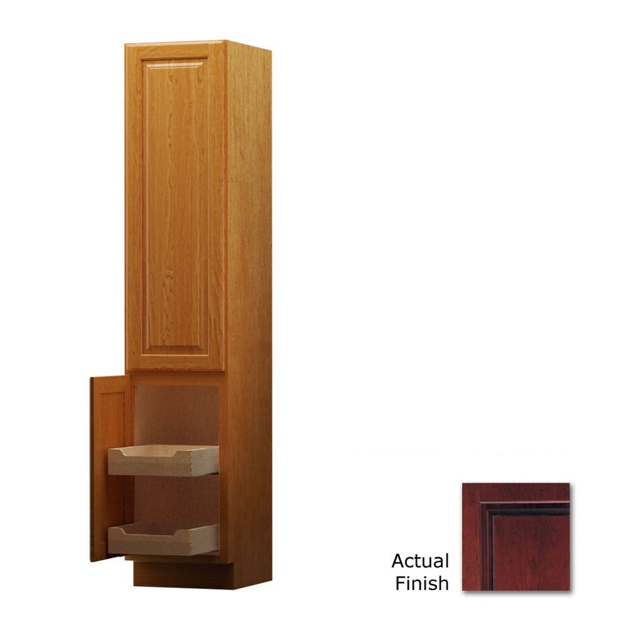 KraftMaid 15-in W x 88.5-in H x 21-in D Cabernet Cherry Freestanding Linen Cabinet