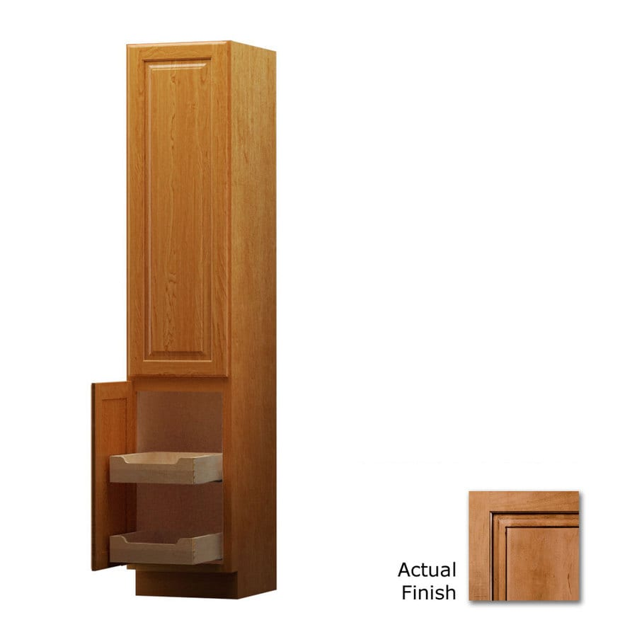 KraftMaid 15-in W x 88.5-in H x 21-in D Ginger with Sable Glaze Maple Freestanding Linen Cabinet