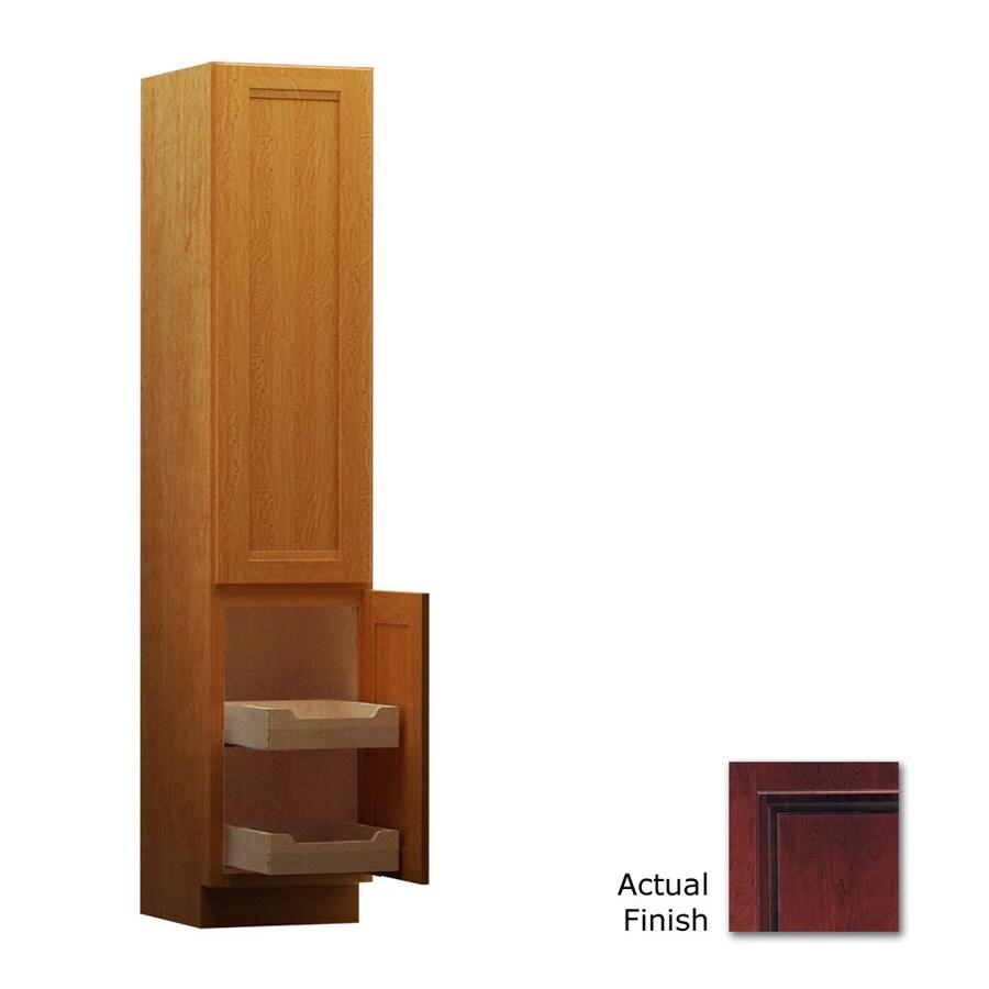 KraftMaid 18-in W x 88.5-in H x 18-in D Cabernet Cherry Freestanding Linen Cabinet