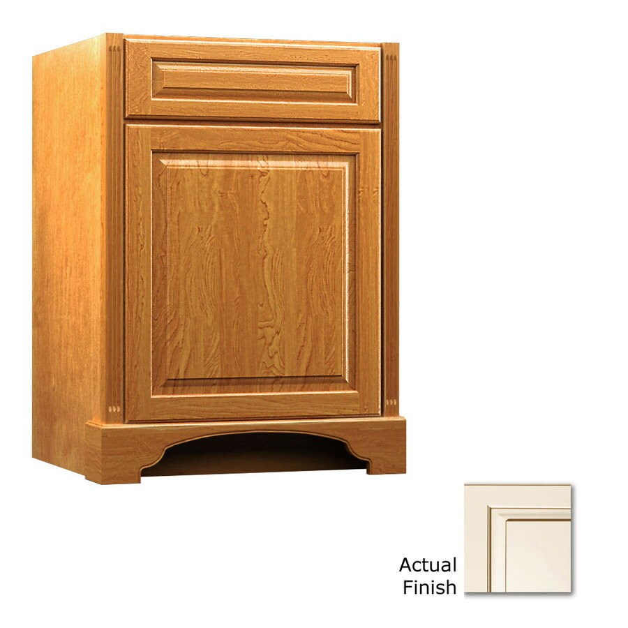 KraftMaid Savoy Montclair Canvas with Cocoa Glaze Traditional Bathroom Vanity (Common: 24-in x 18-in; Actual: 24-in x 18-in)