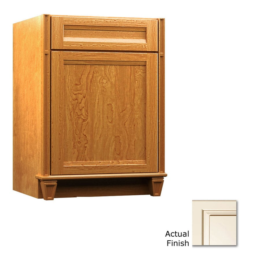 KraftMaid Key Biscayne Sonata Canvas with Cocoa Glaze Traditional Bathroom Vanity (Common: 24-in x 18-in; Actual: 24-in x 18-in)