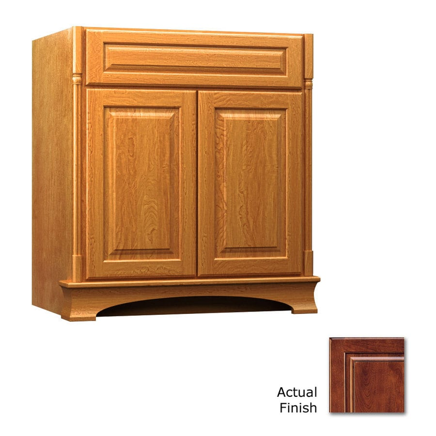 KraftMaid Chambord Montclair Antique Chocolate with Mocha Glaze Traditional Bathroom Vanity (Common: 30-in x 21-in; Actual: 30-in x 21-in)