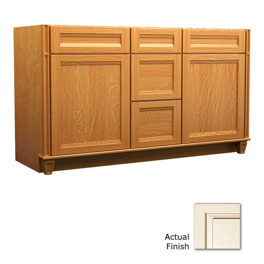 KraftMaid Key Biscayne Sonata Canvas with Cocoa Glaze Traditional Bathroom Vanity (Common: 60-in x 18-in; Actual: 60-in x 18-in)