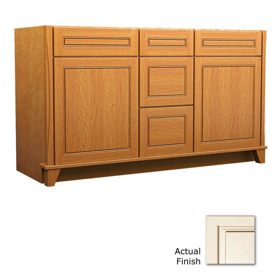 KraftMaid Tribecca Provence Canvas with Cocoa Glaze Contemporary Bathroom Vanity (Common: 60-in x 21-in; Actual: 60-in x 21-in)
