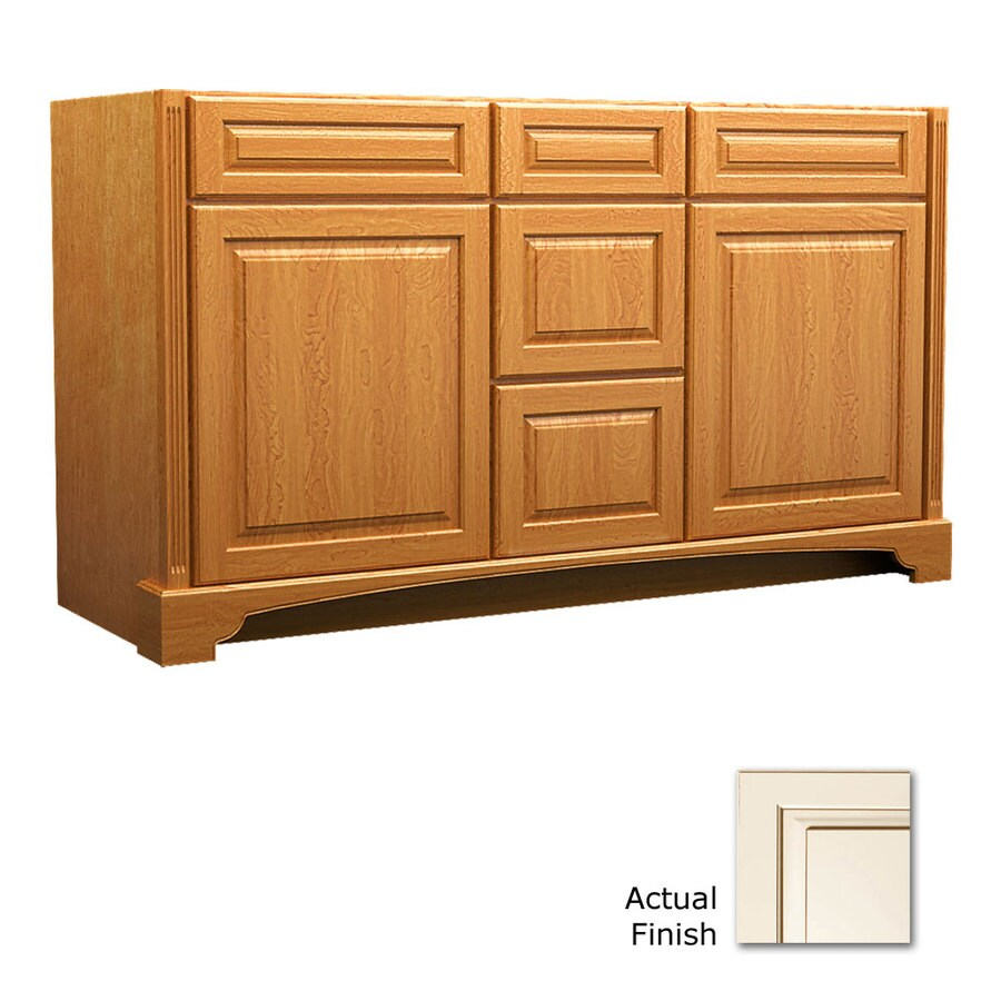 KraftMaid Savoy Montclair Canvas with Cocoa Glaze Traditional Bathroom Vanity (Common: 60-in x 21-in; Actual: 60-in x 21-in)