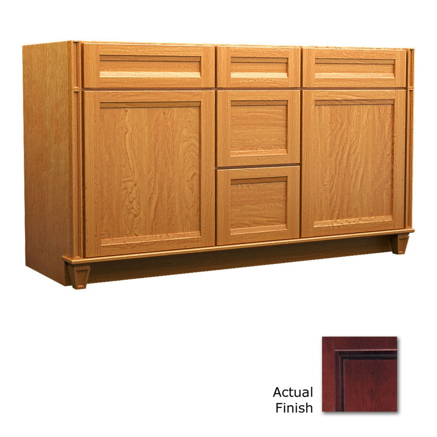 KraftMaid Key Biscayne Sonata Cabernet Traditional Bathroom Vanity (Common: 60-in x 21-in; Actual: 60-in x 21-in)