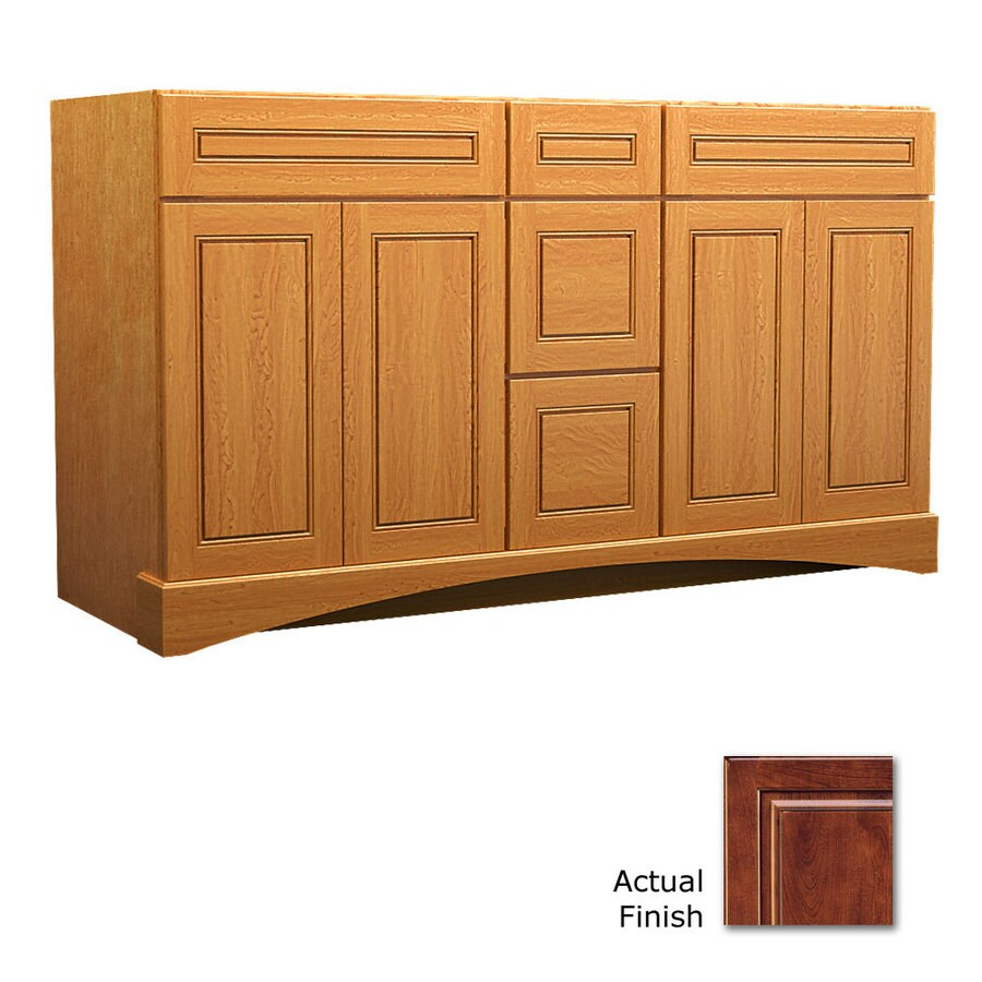 KraftMaid Summerfield Provence Antique Chocolate with Mocha Glaze Casual Bathroom Vanity (Common: 60-in x 21-in; Actual: 60-in x 21-in)