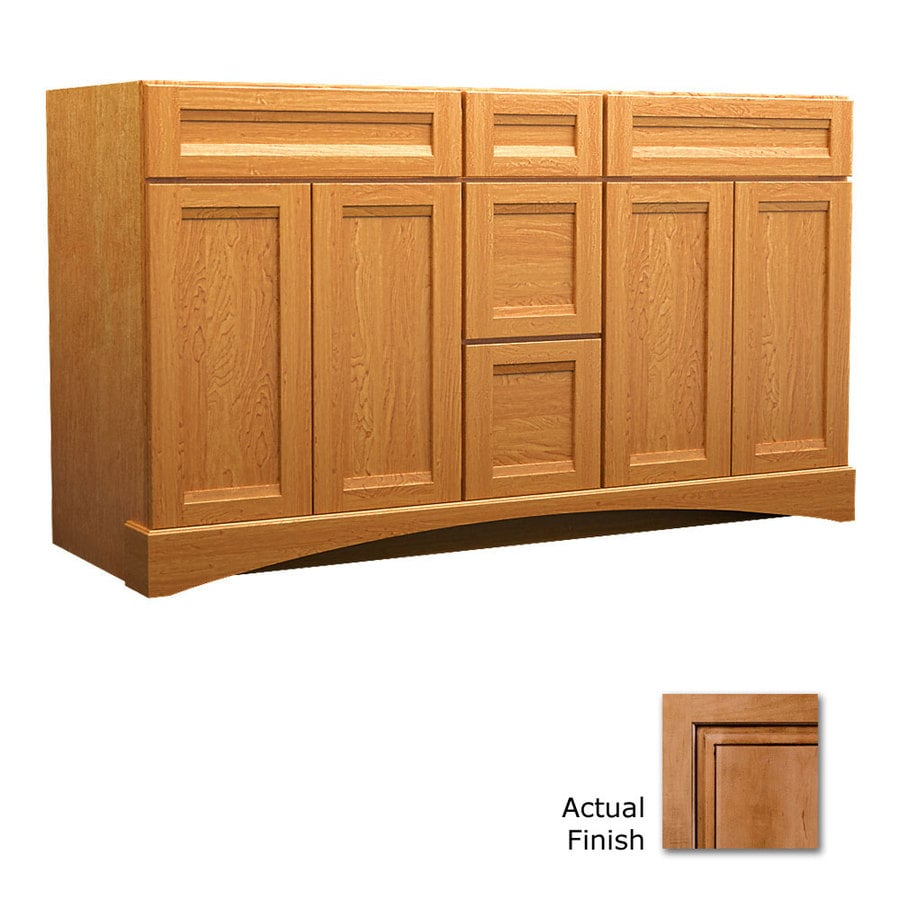 KraftMaid Summerfield Sonata Ginger with Sable Glaze Casual Bathroom Vanity (Common: 60-in x 21-in; Actual: 60-in x 21-in)