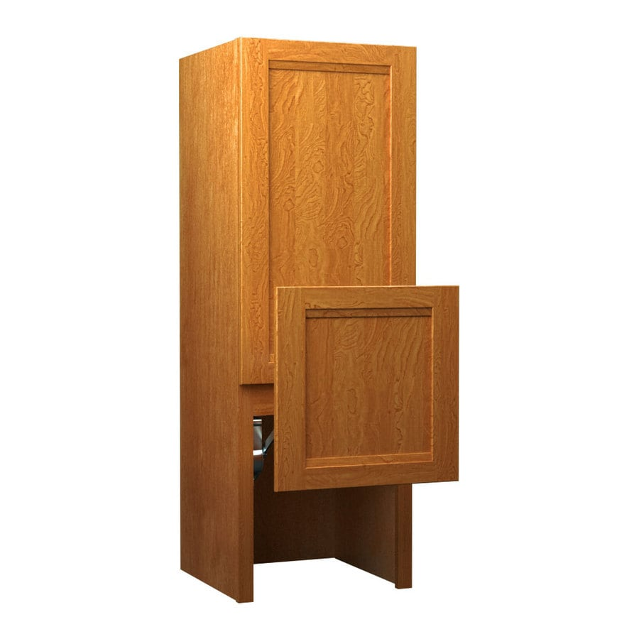KraftMaid 18-in W x 52.5-in H x 15-in D Maple Freestanding Cabinet Banks