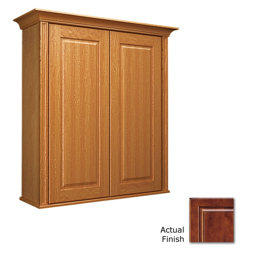 KraftMaid 27-in W x 30-in H x 8-in D Antique Chocolate with Mocha Glaze Cherry Bathroom Wall Cabinet