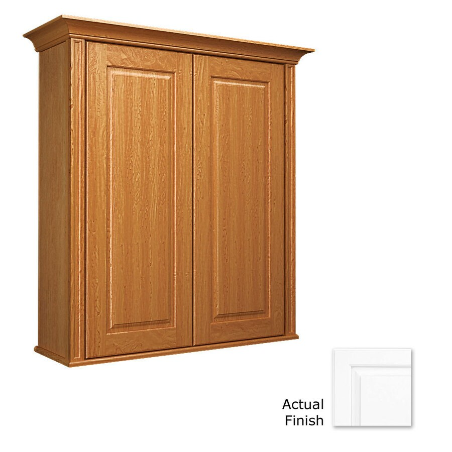 KraftMaid 27-in W x 30-in H x 8-in D Dove White Maple Bathroom Wall Cabinet