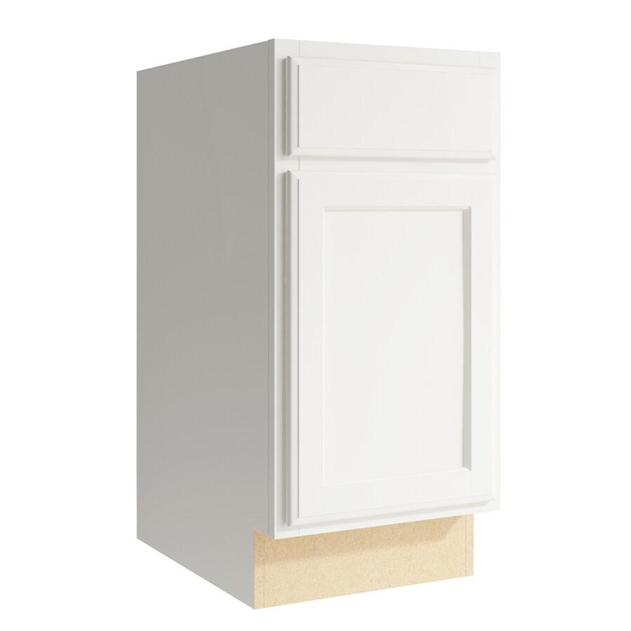 KraftMaid Momentum Cotton Kingston 1-Door Left-Hinged Base Cabinet (Common: 15-in x 21-in x 31.5-in; Actual: 15-in x 21-in x 31.5-in)