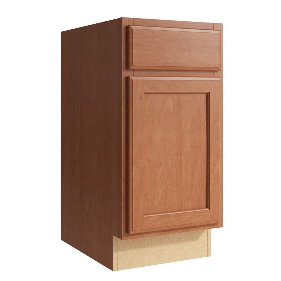 KraftMaid Momentum Hazelnut Kingston 1-Door Left-Hinged Base Cabinet (Common: 15-in x 21-in x 31.5-in; Actual: 15-in x 21-in x 31.5-in)