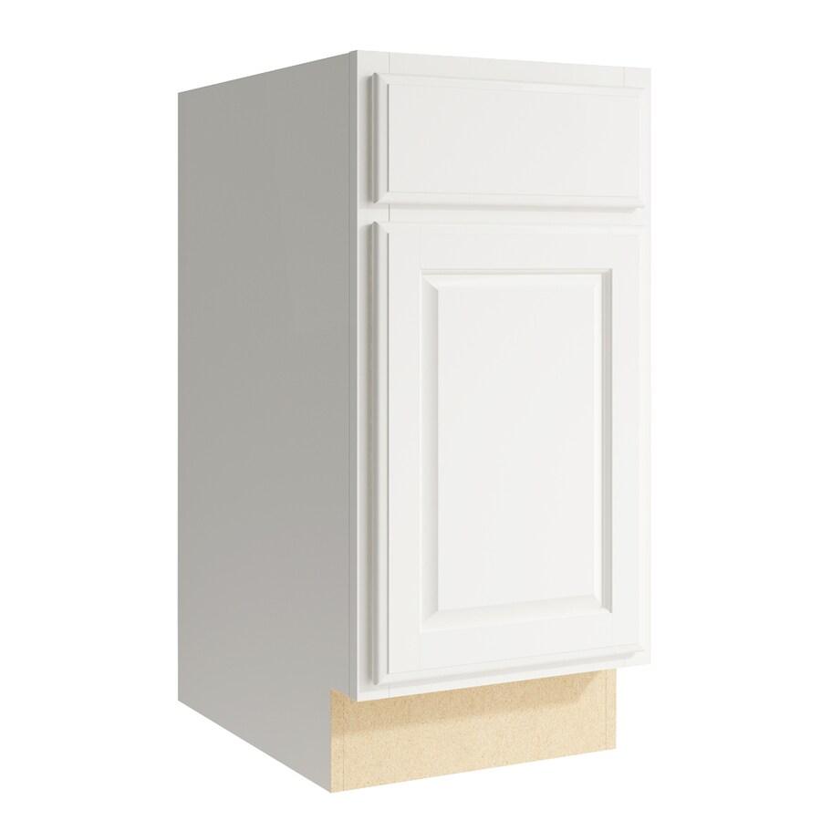 KraftMaid Momentum Cotton Settler 1-Door Left-Hinged Base Cabinet (Common: 15-in x 21-in x 31.5-in; Actual: 15-in x 21-in x 31.5-in)