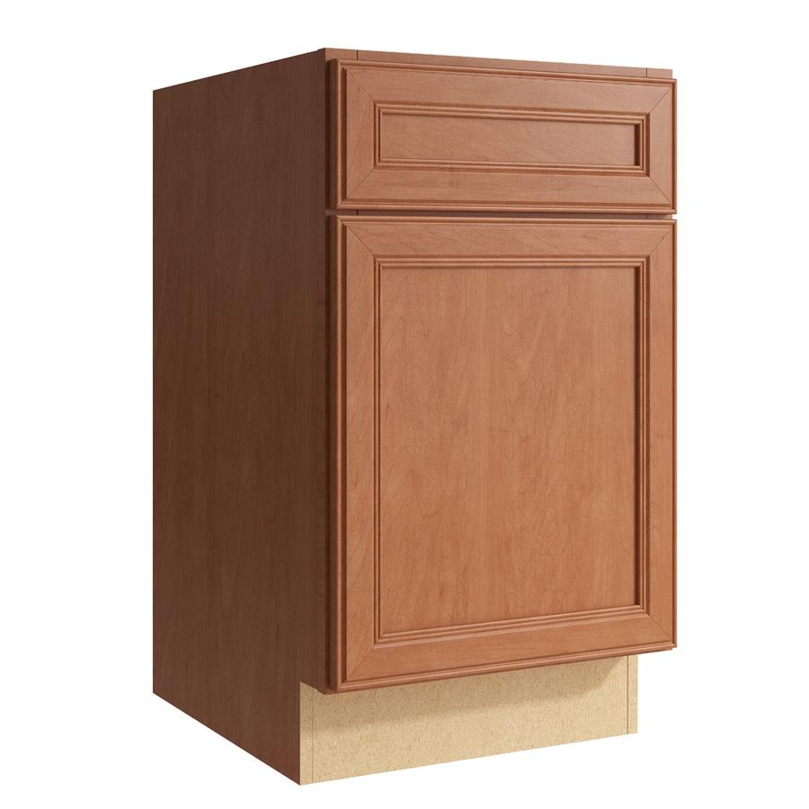 KraftMaid Momentum Hazelnut Bellamy 1-Door Left-Hinged Base Cabinet (Common: 18-in x 21-in x 31.5-in; Actual: 18-in x 21-in x 31.5-in)