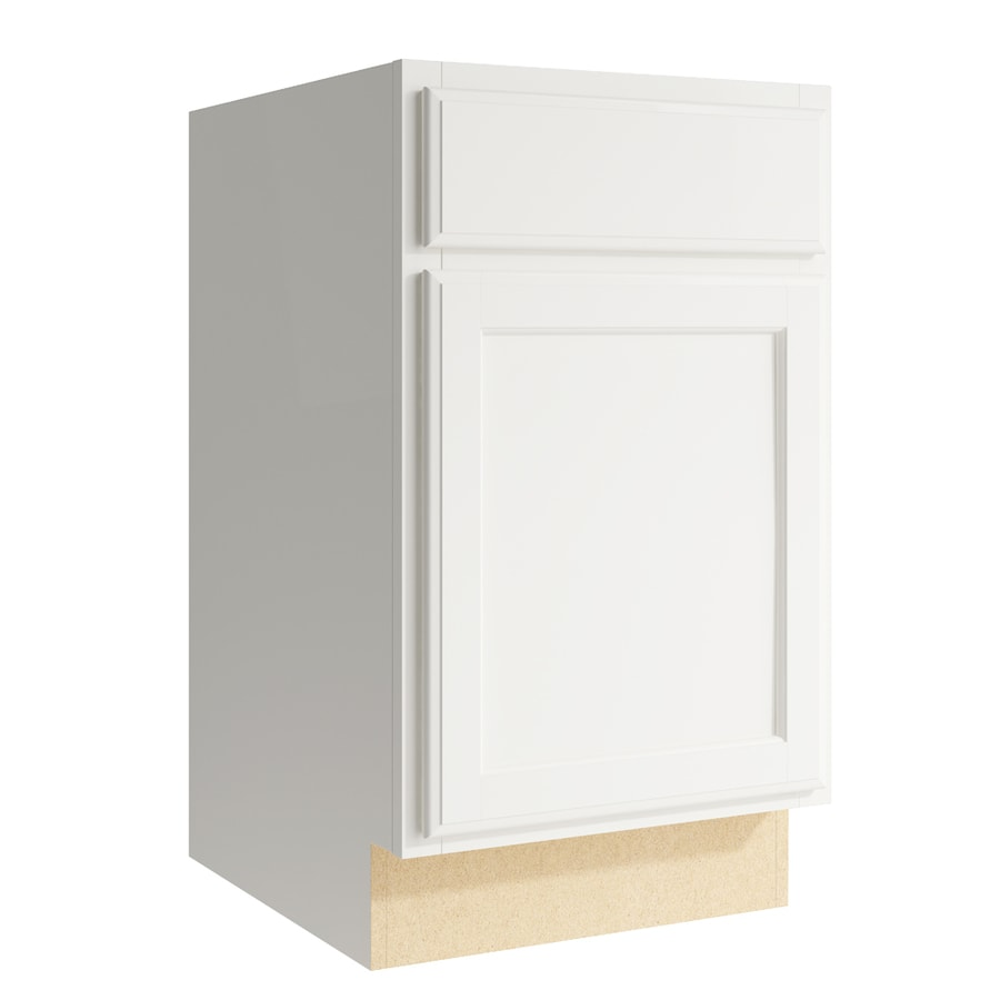 KraftMaid Momentum Cotton Kingston 1-Door Left-Hinged Base Cabinet (Common: 18-in x 21-in x 31.5-in; Actual: 18-in x 21-in x 31.5-in)