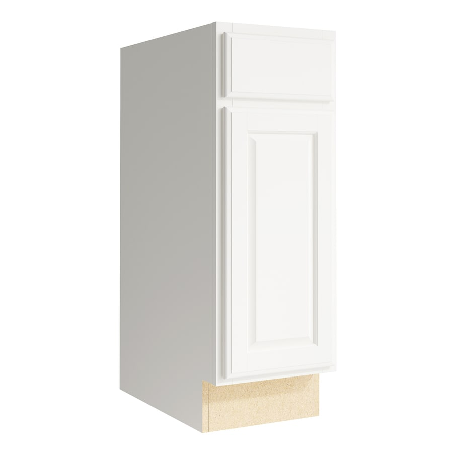 KraftMaid Momentum Cotton Settler 1-Door Right-Hinged Base Cabinet (Common: 12-in x 21-in x 34.5-in; Actual: 12-in x 21-in x 34.5-in)