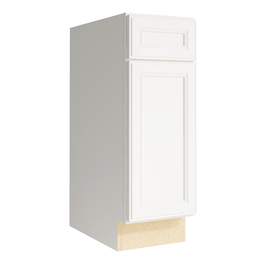 KraftMaid Momentum Cotton Bellamy 1-Door Left-Hinged Base Cabinet (Common: 12-in x 21-in x 34.5-in; Actual: 12-in x 21-in x 34.5-in)