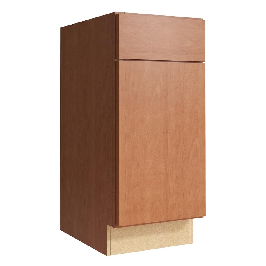 KraftMaid Momentum Hazelnut Frontier 1-Door Right-Hinged Base Cabinet (Common: 15-in x 21-in x 34.5-in; Actual: 15-in x 21-in x 34.5-in)