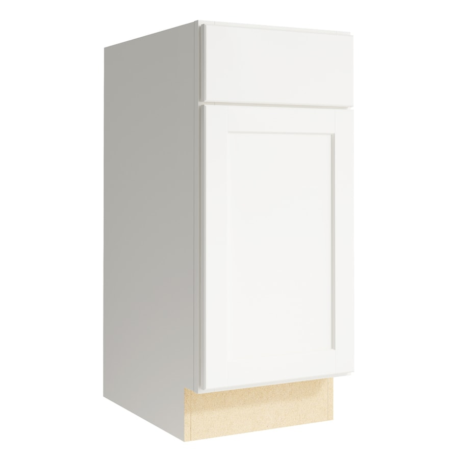 KraftMaid Momentum Cotton Paxton 1-Door Right-Hinged Base Cabinet (Common: 15-in x 21-in x 34.5-in; Actual: 15-in x 21-in x 34.5-in)